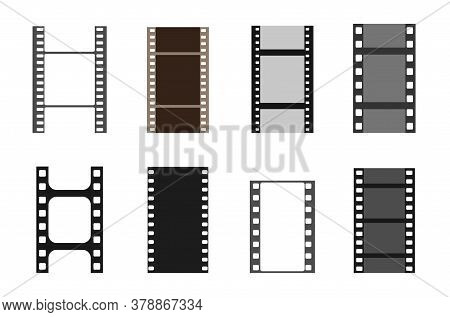 Set Of Film Vector Stripes. Cinema Monochrome Border Celluloid Tape, Media Empty Image Photo Video V