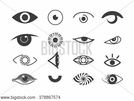 Eye Icon Set. Human Organ Of Sight In Different Positions. Look And Vision Icons. Vector Illustratio
