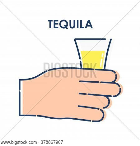 Male Hand Holding A Glass Of Tequila. Line Art Design Element On White Background. Fingers Human Wit