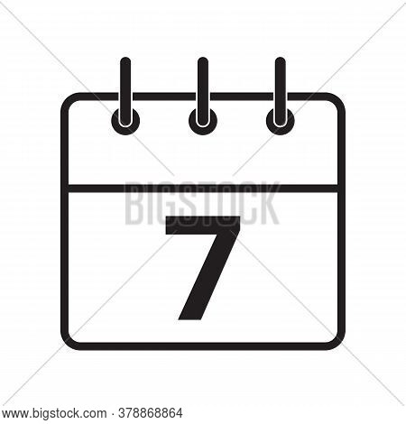Line Icon The Seventh Day On The Calendar Isolated On White Background. Vector Illustration.