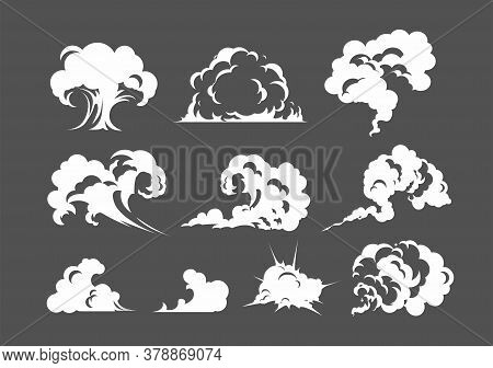 Cartoon Smoke Cloud. White Smoke Steam Explosion Dust Fog Smog Gas Blast Dust Game Cartoon, Icon. Fo
