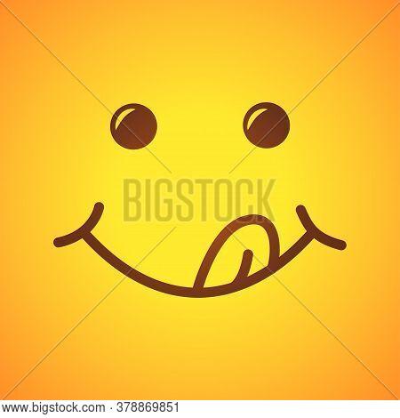 Yummy Smile. Tasty Food Eating Emoji Face. Vector Illustration