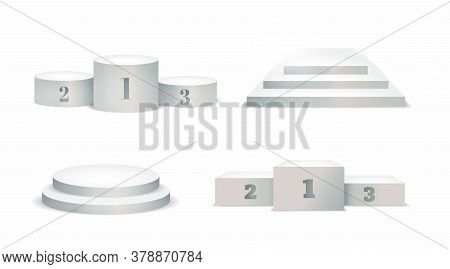 White Winners Podium. Round And Square Empty Stages And Podium Stairs Vector Template. Vector Set.