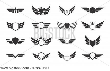 Wings Vector Collection. Winged Emblems, Frames, Icons, Angel And Phoenix Wings. Vector Symbolic Bla