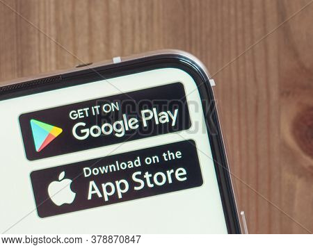 Moscow, Russia - Jule 29, 2020: Google Play And App Store Icons On Smartphone Screen With Infinity D