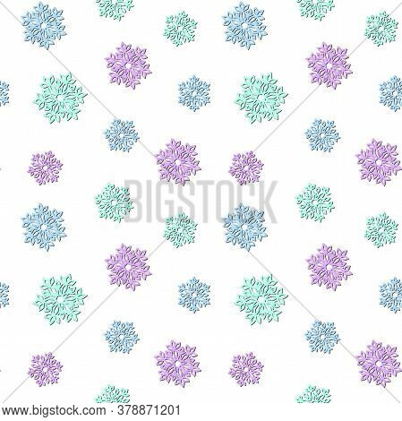 Colorful Openwork Snowflakes With A Shadow On A White Background. Vector Seamless Pattern, Design Te