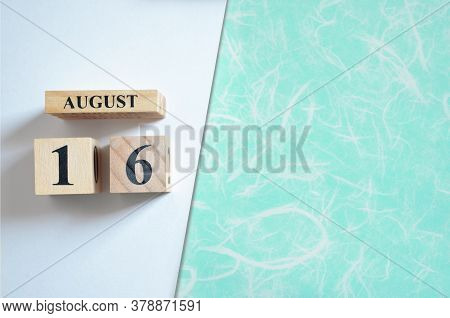 August 16, Empty White - Green Background With Number Cube.