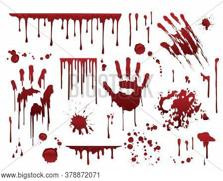 Dripping Blood. Halloween Bloody Splatter Spots And Bleeding Hand Traces. Collection Various Red Pai