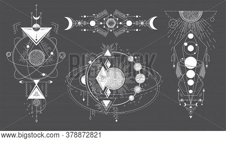 Tattoos Of Space Subjects With Star Systems. Vector Set Of Geometric Abstract Magical Tattoo On Blac