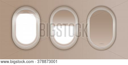 Open And Closed Window In Plane. Gray Airplane Window, Gray Light Template, Plain Aircraft Window Wh