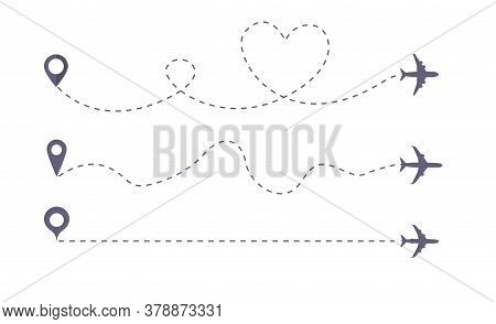 Set Of Airplane Line Path Vector Icon Of Air Plane Flight Route. Vector Love Airplane Route.