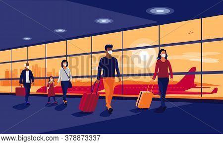 Passengers People Traveler Wearing Face Masks Walking At Airport Gate Terminal Lounge Traveling On H