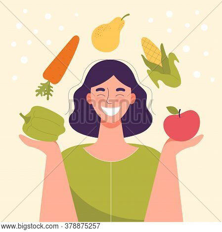 Smiling Woman With Vegetables And Fruits In His Hands.healthy Food, Concept Of Diet, Raw Food Diet,