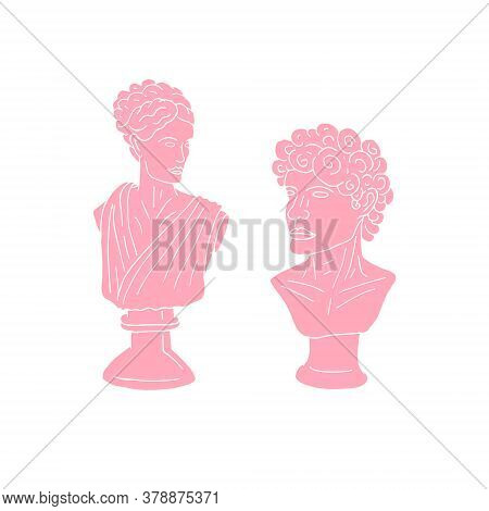 Vector Hand Drawn Doodle Sketch Pink Antique Man And Woman Bust Statue Isolated On White Background