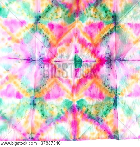 Alcohol Ink Tie Dye Textile. Indian Ikat. Dyed Modern Textile. Dye Background Print. Tie Dye Texture