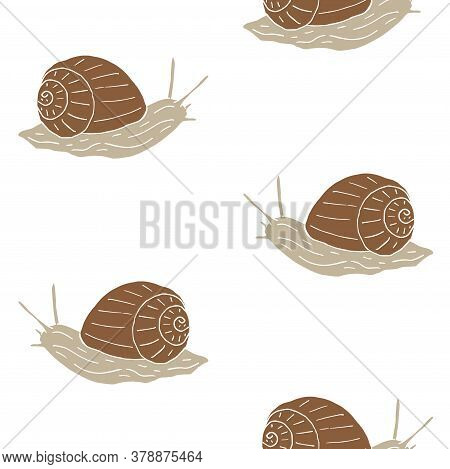 Vector Seamless Pattern Of Hand Drawn Doodle Sketch Snail Isolated On White Background