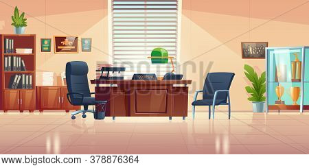 Principals Office In School With Desk, Chairs, Bookcase And Showcase With Sport Trophies. Vector Car