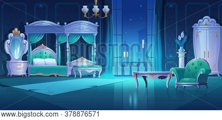 Night Bedroom, Baroque Style Interior, Vintage Room With Luxury Furniture Bed With Canopy, Lamp, War