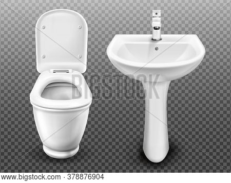 White Toilet Bowl And Sink For Bathroom, Modern Wc Or Restroom. Vector Realistic Ceramic Wash Basin