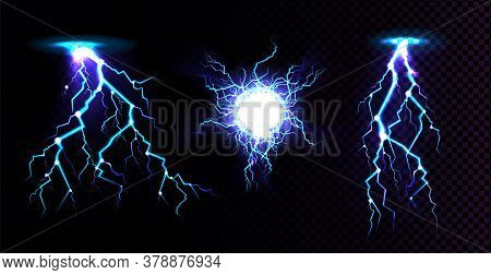 Electric Ball And Lightning Strike, Impact Place, Plasma Sphere Or Magical Energy Flash In Blue Colo