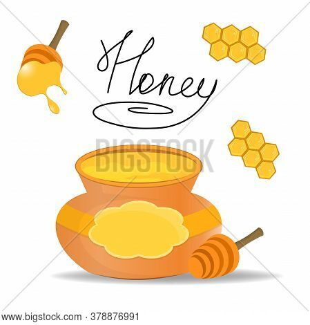 A Keg With Honey And Honey Collecting Spoons. Inscription In The Center Of The Set. Sweet Honey Set