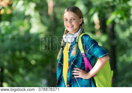 Wanderlust Gene Is A Real Thing. Happy Child Carry Backpack Natural Outdoors. Traveling And Wanderlu