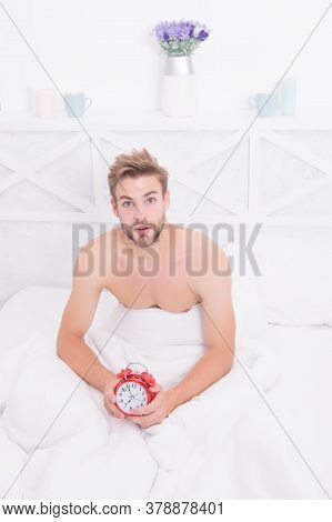 Its Time To Wake Up From Dream. Sexy Man Wake After Sleep. Handsome Guy Hold Clock In Bed. Wake Up T