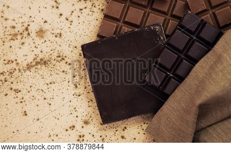 Chocolate Candy Bars. Chocolate Bar Pieces In Burlap Bag