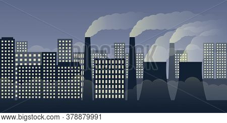 City Scape By Night With Pollution By Industry And Smog Vector Illustration Eps10