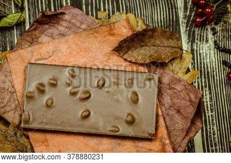 Chocolate With Hazelnut. Top View Chocolate.