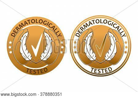 Dermatologically Tested Sign. Hands Hold Feathers Near The Quality Mark. Hypoallergenic Test Tag In