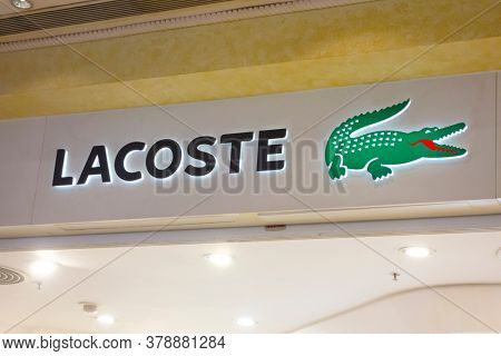 Macau, China - April 17, 2015: Lacoste store sign. Lacoste is a French company, founded in 1933 by tennis player Rene Lacoste and Andre Gillier.