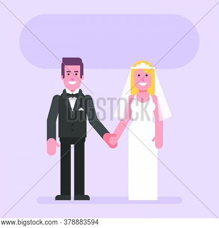 Bride And Groom Hold Hands And Smile. Flat People