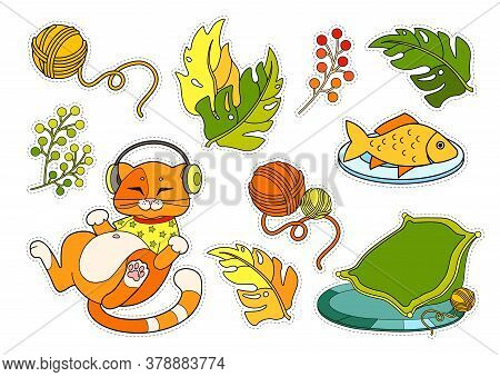 Colorful Sticker Pack With Cute Red Cat In T-shirt, Listening To The Music In Headphones, His Cozy P