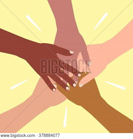 Diverse Of Hands Are Stacked On Top Of Each Other. Friendship And Partnership Concept, Multiethnic U