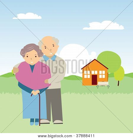 vector illustration of elderly people in nature
