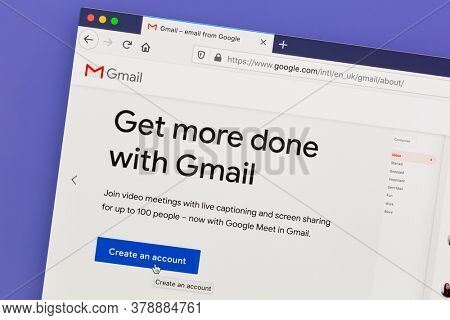 Ostersund, Sweden - July 27, 2020: Gmail website on a computer screen. Gmail is a free email service developed by Google.