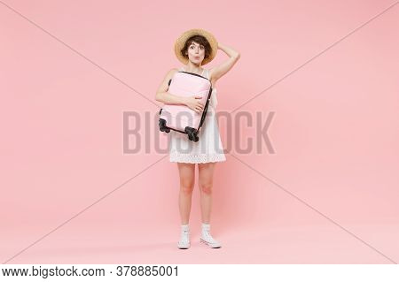 Amazed Young Tourist Woman In Summer White Dress Hat Isolated On Pink Background Studio. Female Trav