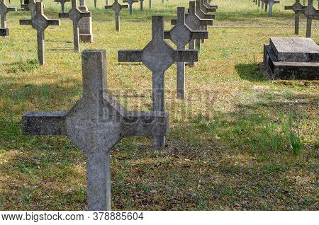 Crosses At The Graves Of Fallen Soldiers In The Garrison Cemetery.