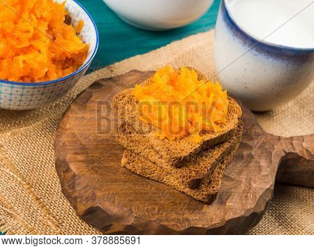 Home Made Carrot Jam Made With Orange And Lemon Juice. Healthy Vegetable Jam For Breakfast Served Wi