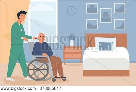 Residential Care Facility. A Caretaker With Old Man On Wheelchair. A Bedroom In Nursing Home Or Reti