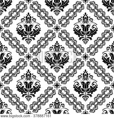 Orient Black And White Vector Classic Pattern. Seamless Abstract Background With Vintage Elements. O
