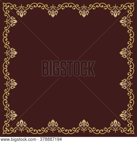 Classic Vector Square Golden Frame With Arabesques And Orient Elements. Abstract Brown And Golden Or
