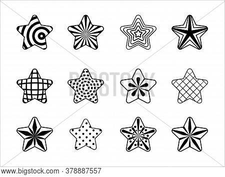 Vector Star Set, Black Star Collection, Stars In Line Art, Stylized Outline Stars, Isolated Stars On