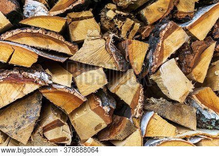 Pile Wood. Deforestation Theme. Wood Industry. Chopped Wood Woodpile Scene