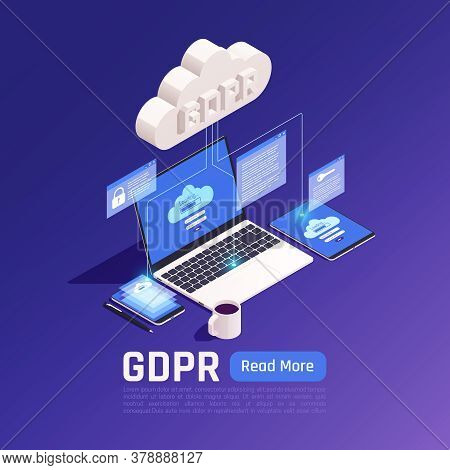 Privacy Data Protection Gdpr Isometric Background With Cloud Pictogram Connected With Electronic Dev