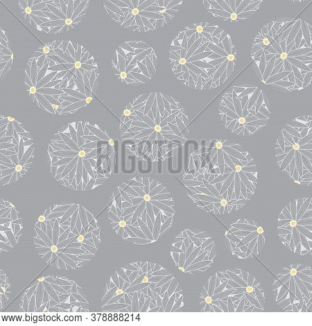 Vector Floral Circles In Grey Yellow Scattered On Gray Background Seamless Repeat Pattern. Backgroun