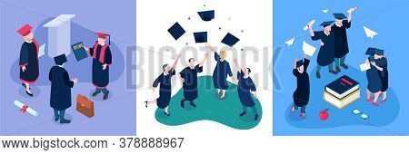 Graduating Students Design Concept Set With Degree Symbols Isometric Isolated Vector Illustration