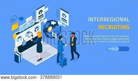Interregional Recruiting Program Landing Page With Standing On Laptop Agent Searching Candidates Iso