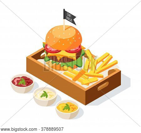 Burger House Isometric Background With Composition Of Sauce Dishes And Served Burger With Fries On P